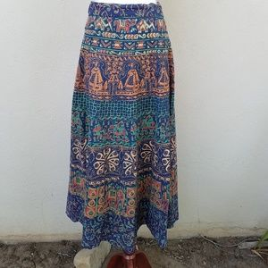 Indian print wrap maxi skirt